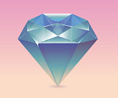 Shimmering diamond. Diamonds vector illustration. Diamond shape in a flat style. Diamond stone on a colored background.