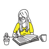 Happy and smiling pretty young girl with glasses, writing diary on her working desk. Vector illustration character, cartoon, outline, thin art line, linear, hand drawn sketch design, simple style.