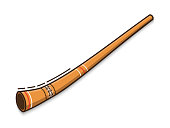 Didgeridoo is a traditional musical instrument of Australian aborigines. Vector flat icon isolated on white background.