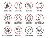 Set of ingredient warning label icons. Common allergens (gluten, lactose, soy, corn and more), sugar and trans fat, vegetarian and organic symbols.