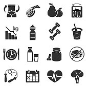 Dietary compliance, fitness and health care, simple symbols collection.
