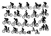 different active people riding bikes silhouettes collection, man woman couples family friends children cycling to office work, travel with backpacks,bicyle trailers, sport, mountain biking, city drive