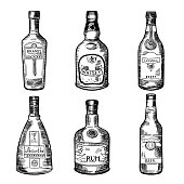 Different alcoholic drinks in bottles. Vector illustration in hand drawn style. Sketch of bottles absinthe, rum and cognac