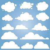 Set for blue sky, different clouds. Cloud icon, cloud shape, label, symbol, logo. Flat graphic element vector
