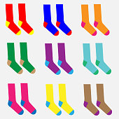 Nine pairs of different colorful socks vector