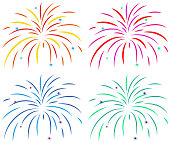Different colors of fireworks on white background illustration