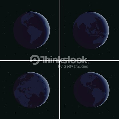 Different continents from the cosmos. Vector background.