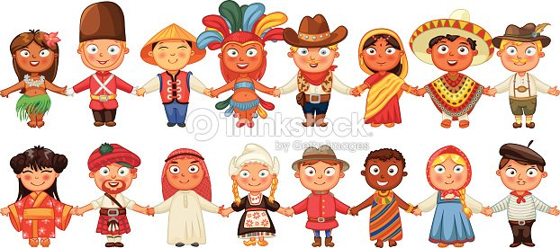 Different Culture Standing Together Holding Hands Stock
