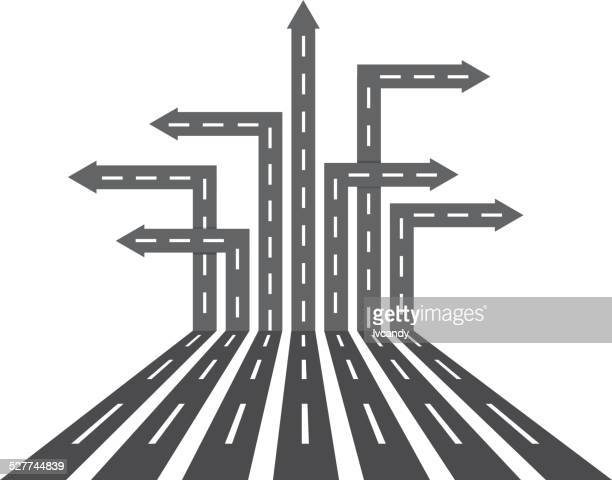 Different direction roads