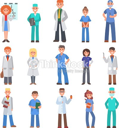 Different doctors people profession specialization nurses and medical staff people hospital character vector illustration