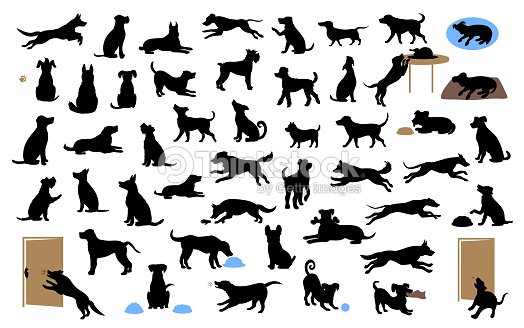 different dogs silhouettes set, pets walk, sit, play, eat, steal food, bark, protect run and jump, isolated vector illustration : stock vector