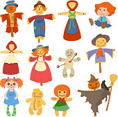 Different dolls toy character game dress and farm scarecrow rag-doll vector illustration. Pretty underwear little halloween wardrobe model style.