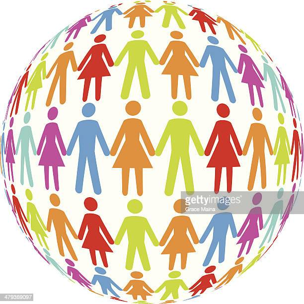 Different ethnicities holding hands - VECTOR