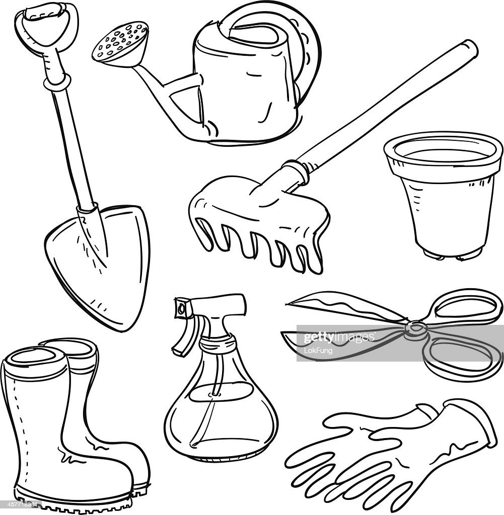 Different gardening tools collage vector art getty images for Gardening tools drawing