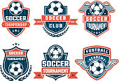 Different icons for football club. Vector labels set of soccer icon competition, tournament and championship illustration