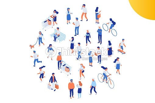 Different isomeric people vector set isolated on white. : stock vector