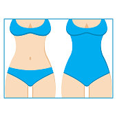 Different kinds of blue swimsuits. Vector illustration