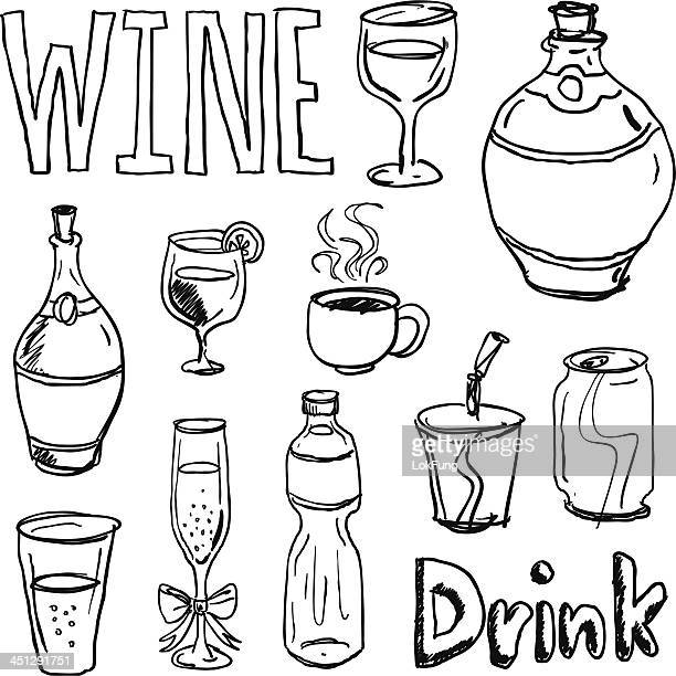 Different kinds of drinks in black and white