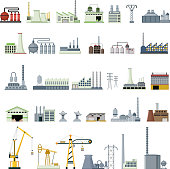 vector illustration of set different kinds of factory