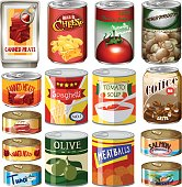 Different kinds of food in can illustration