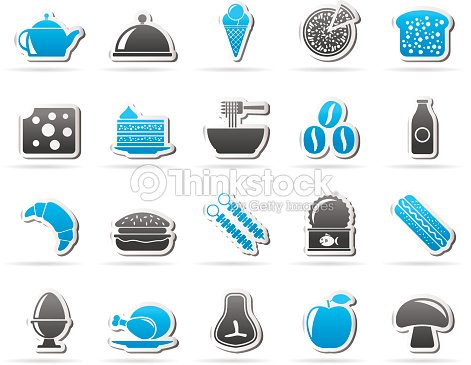 Different king of food and drinks icons 2