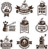 Different labels set for coffee house. Pictures of cups of coffee and caffeine beans. Coffee drink in cup, label for shop sticker. Vector illustration