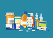 Different medical pills and bottles, healthcare and shopping, pharmacy, drug store. Vector illustration in flat style