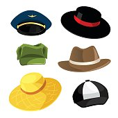 Vector illustration of different model of hat and cap