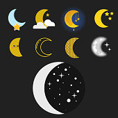 Different moon nature cosmos cycle satellite surface whole cycle from new moon month to full surface star astrology sphere. Vector illustration moon month astronomy space lunar.