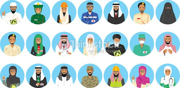 Different muslim Middle East people professions occupation characters avatars icons set in flat style isolated on blue background. Differences islamic saudi arabic persons smiling faces. Vector illustration.