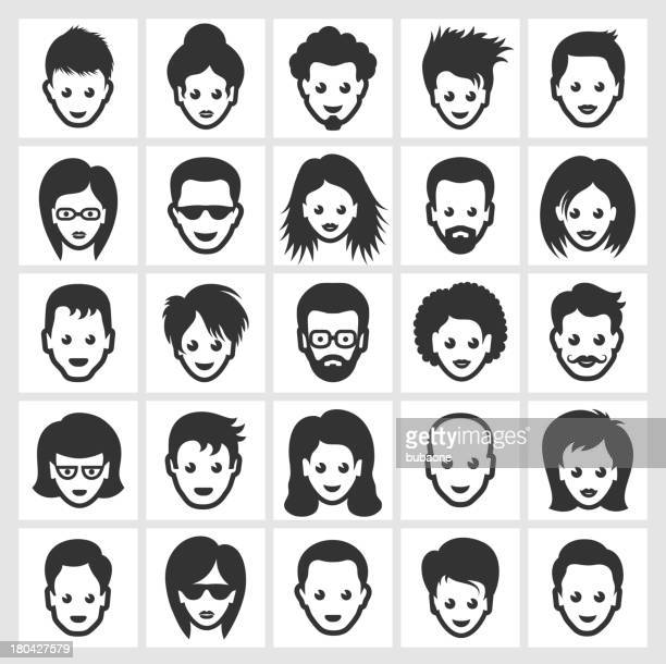 Different People Faces and Hairstyles black & white icon set