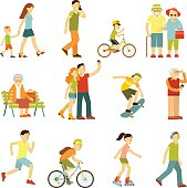 People on the street in different activity situation - walking, cycling, running, recreation in flat style isolated on white background