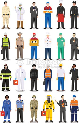 Different people professions occupation characters man set in flat style isolated on white background. Templates for infographic, sites, banners, social networks. Vector illustration.