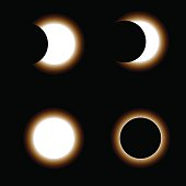 Different phases of sun eclipse on dark background. Vector illustration.