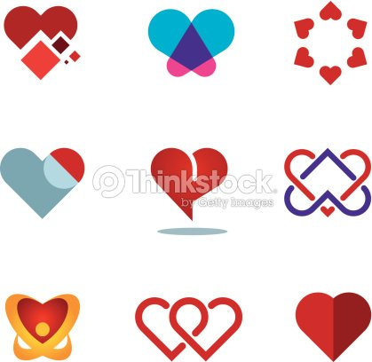 Different Red Heart Shapes Woman Love Symbol Flower Logo Icon Vector