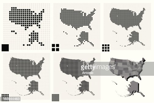 Different Resolutions Of United States Dotted Maps Vector Art - Different us map