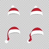 Different Santa red hats on transparent background. Christmas holiday