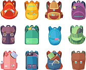 Different schoolbags in cartoon style isolate on white background. Vector colored backpack for student school education illustrations