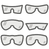 Set of Different Ski Goggles Isolated on White Background
