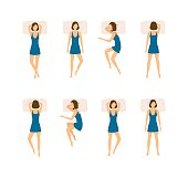 Different Sleeping Poses Set. Top View Woman. Flat Design Style. Vector illustration