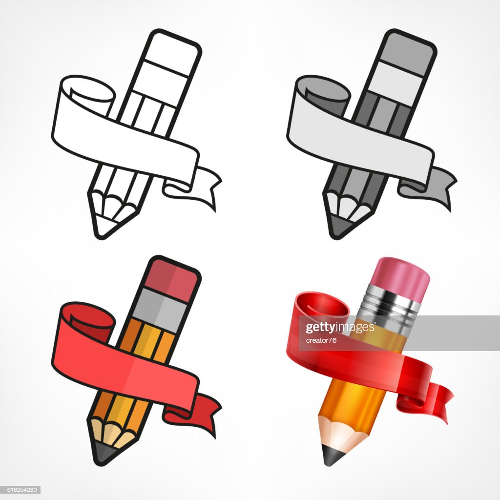 Different style pencils. Ribbon : Arte vetorial