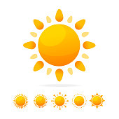 Different Sun Icon Set. Cartoon Flat Design Style. Vector illustration