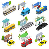 Different Types City Public Transport 3d Icons Set Isometric View Include of Bus, Taxi, Tram and Trolley. Vector illustration