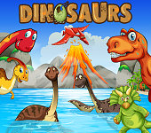 Different types of dinosaurs in the ocean illustration