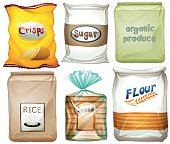 Different types of food in bags illustration