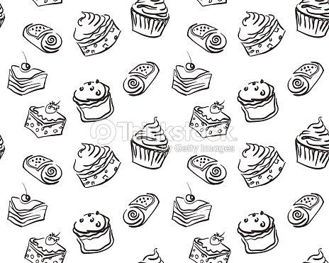 Verschiedene Arten Von Hand Gezeichnet Suss Cupcakes Und Kuchen