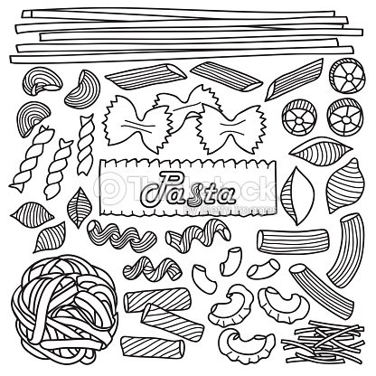 Diversi tipi di pasta arte vettoriale thinkstock - Diversi tipi di pasta ...