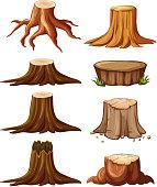 Different types of stumps illustration