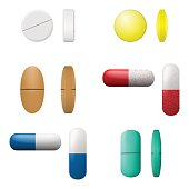 Different vector pills and capsules set. Pharmacy drugs icons isolated on a white background. Medicament symbols. Vector illustration.