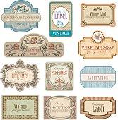 Ornate vintage art nouveau labels. All elements separately.